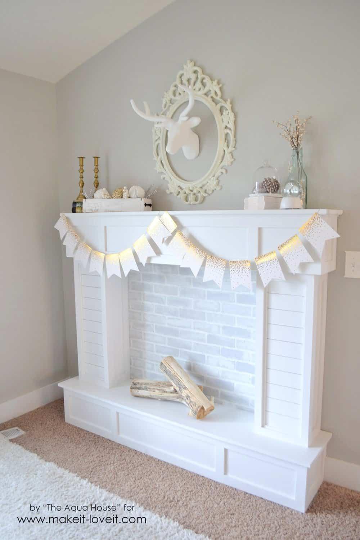 Faux brick fireplace