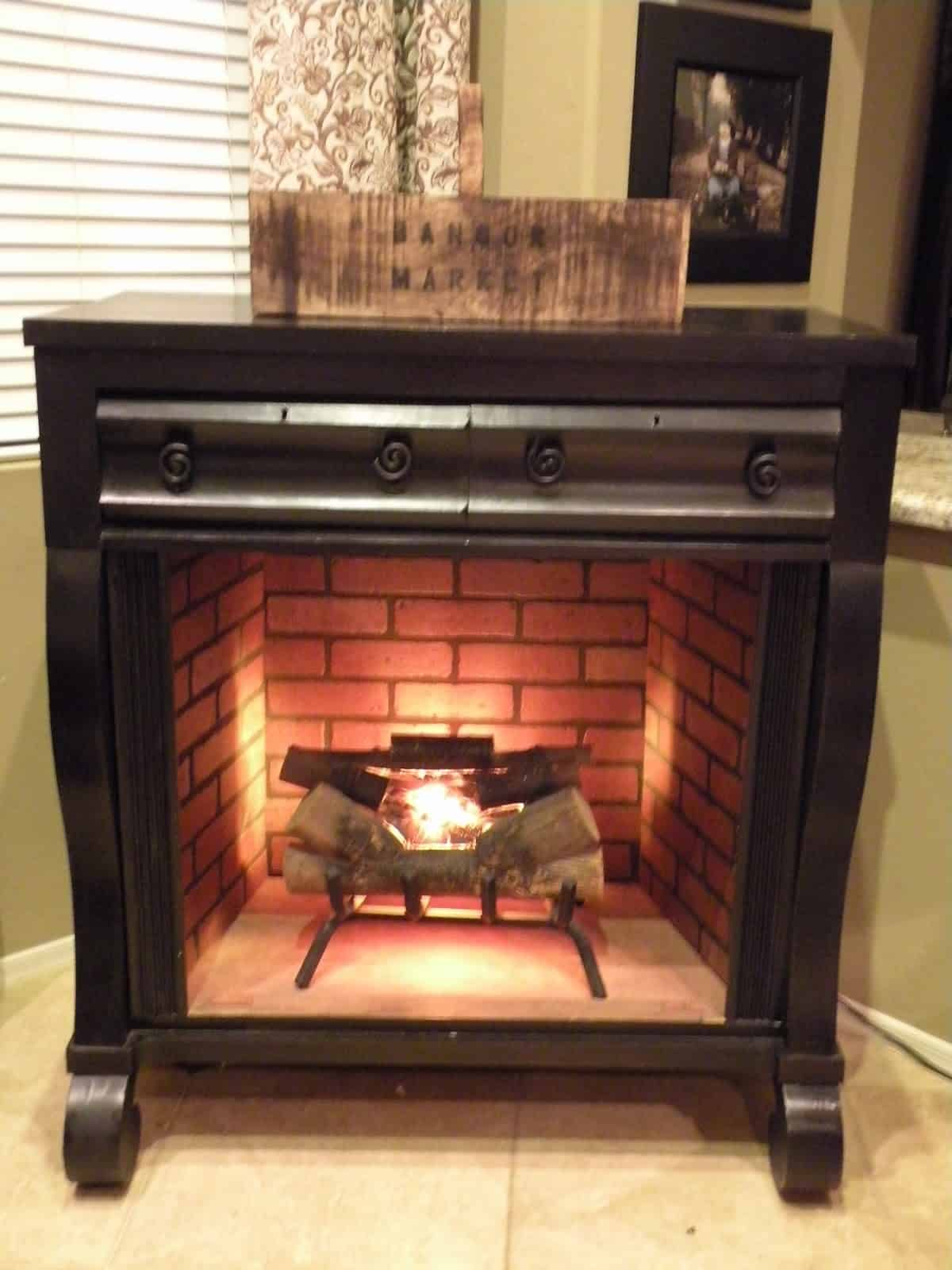 Faux fireplace from an old dresser