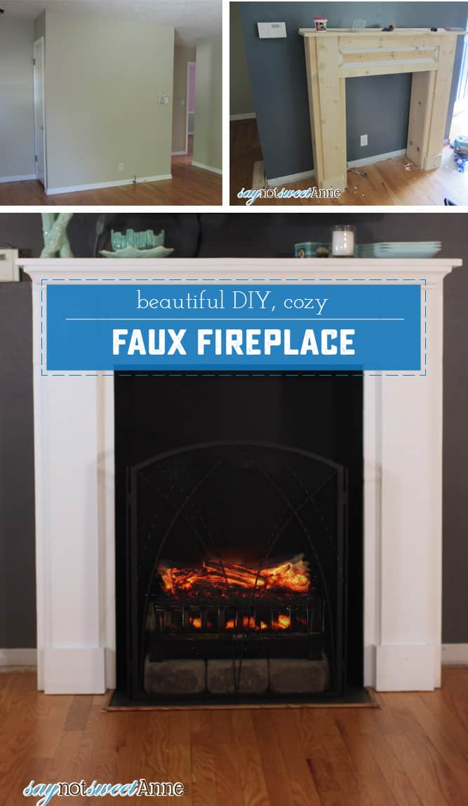 Faux fireplace with a screen