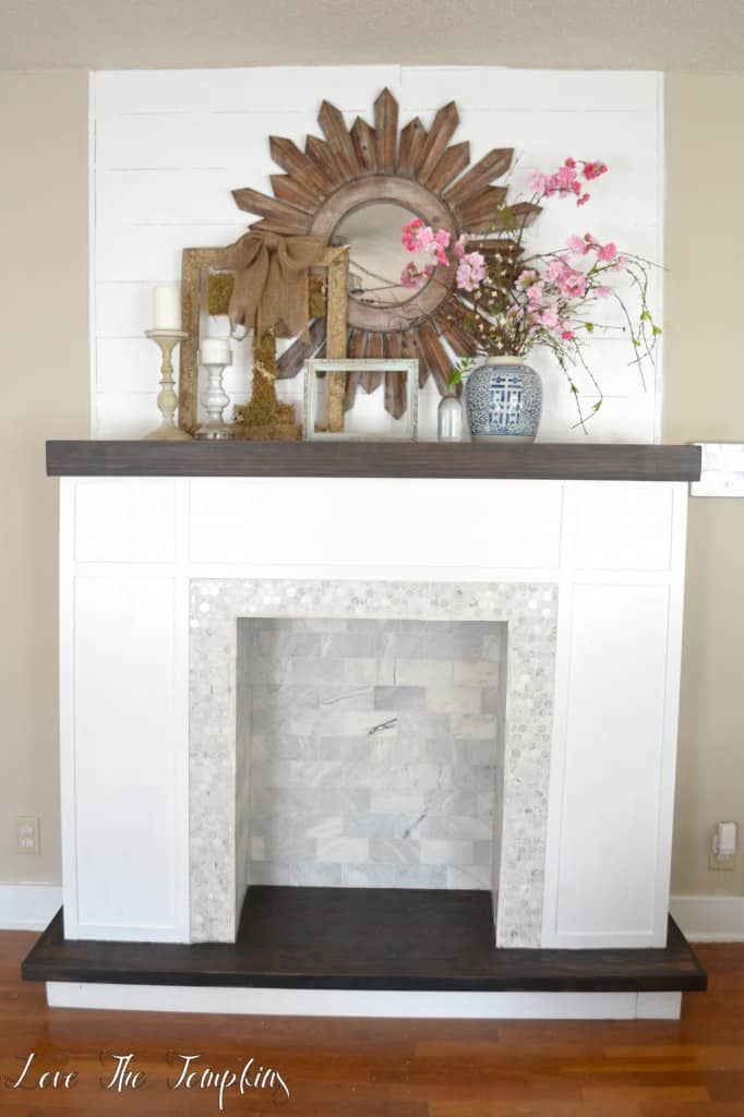 Faux fireplace with tiles