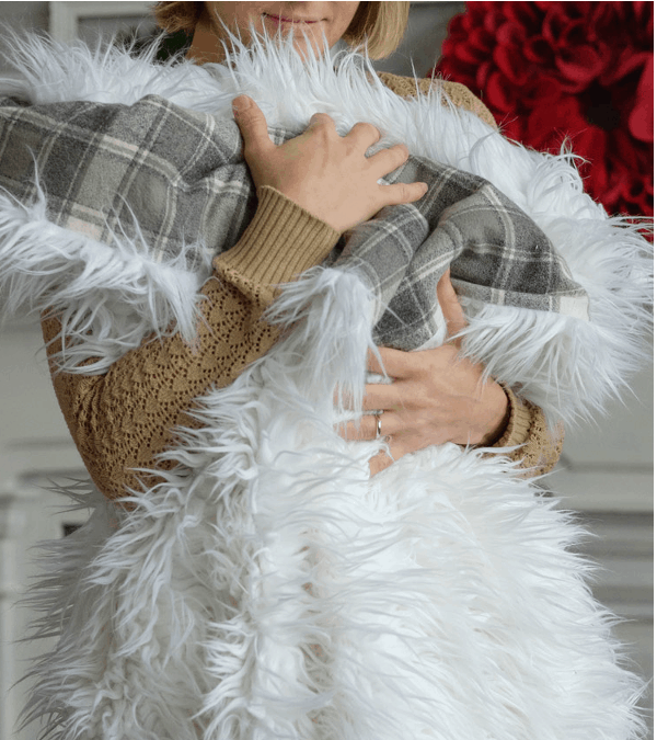 Faux fur and fleece throw