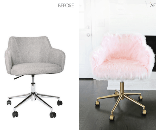 Faux fur office chair makeover