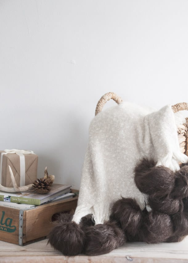 Faux fur pom pom throw