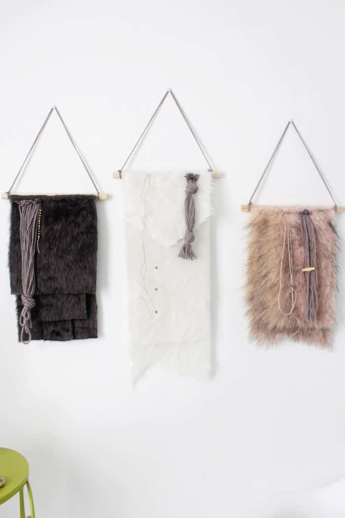 Faux fur wall hangings