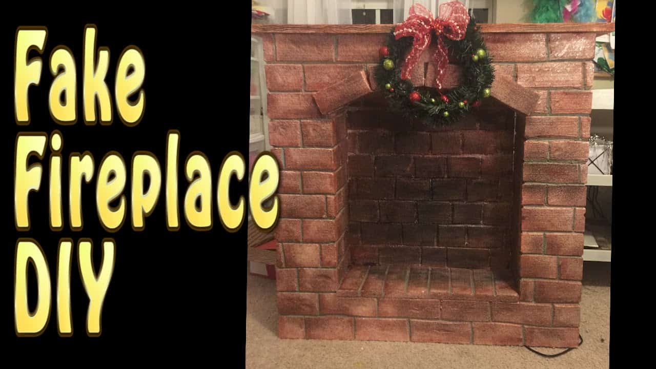 Faux red brick fireplace
