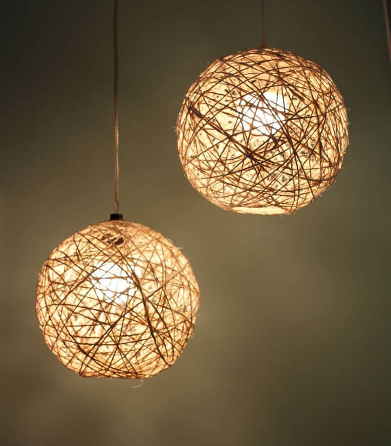 Hemp string pendant light