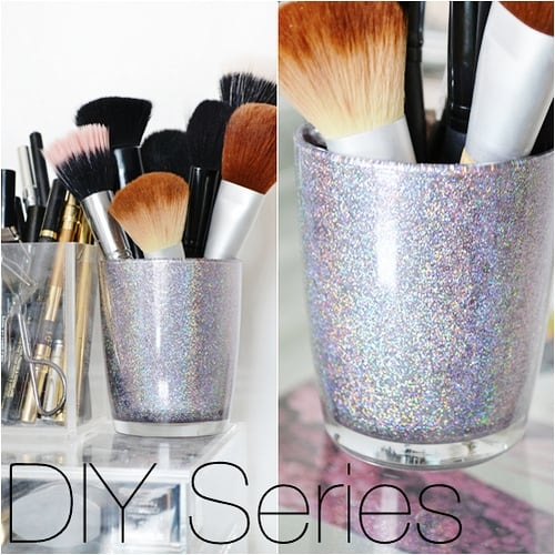 Holographic glitter makeup brush holder