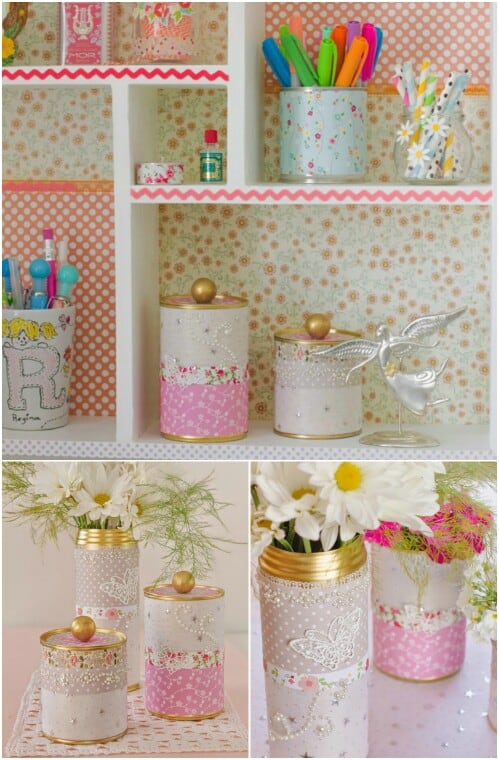 Lace and fabric decor cans