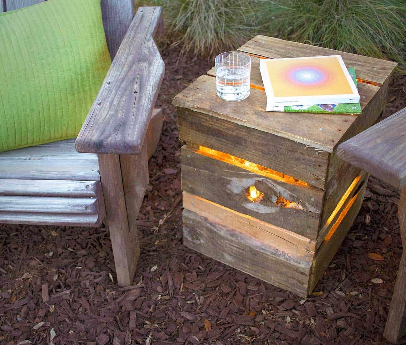 Light-up pallet side table