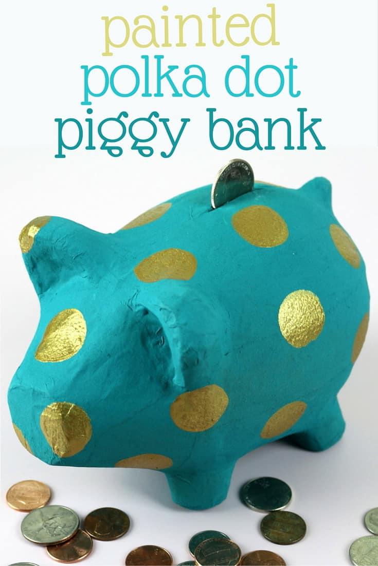 Painted polka dot piggy bank
