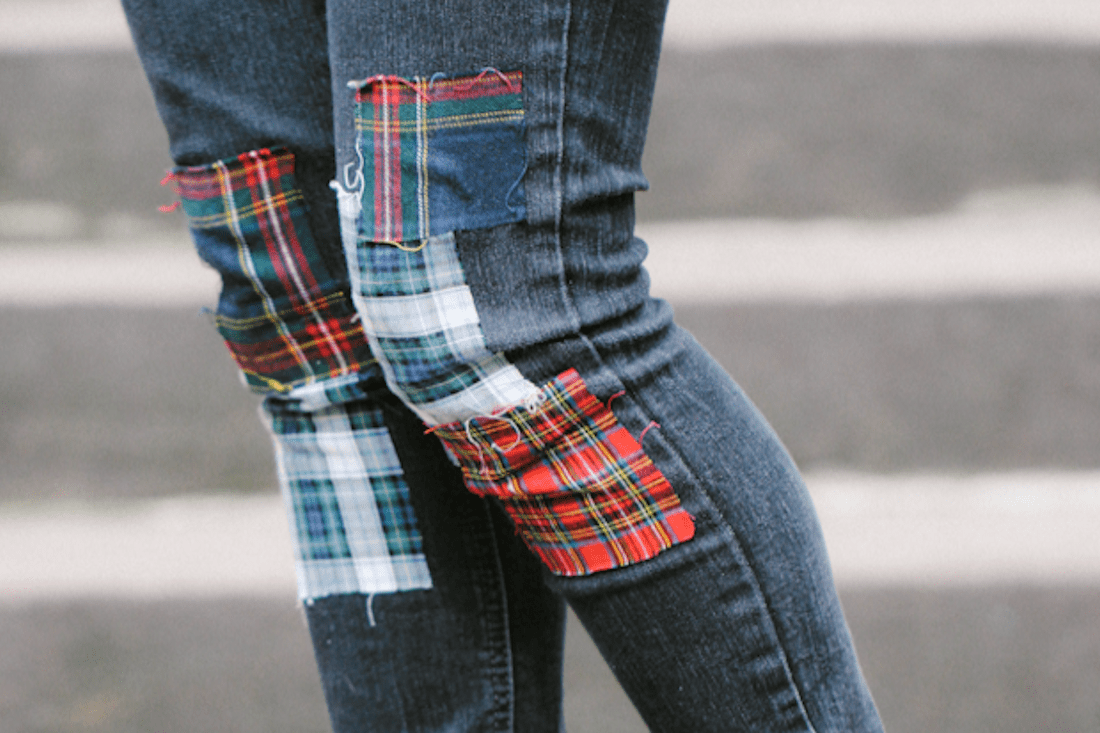 Plaid patchwork jeans