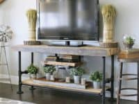 Reclaiemd wood and black pipe stand 200x150 Reinvent Your Living Room With the Best DIY Television Stands!