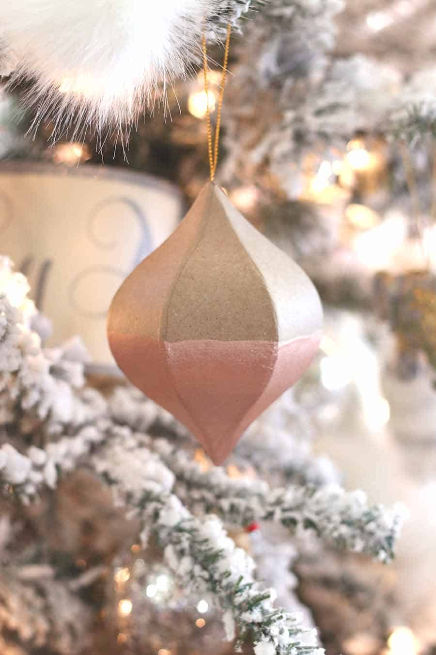 Rose gold dipped ornaments