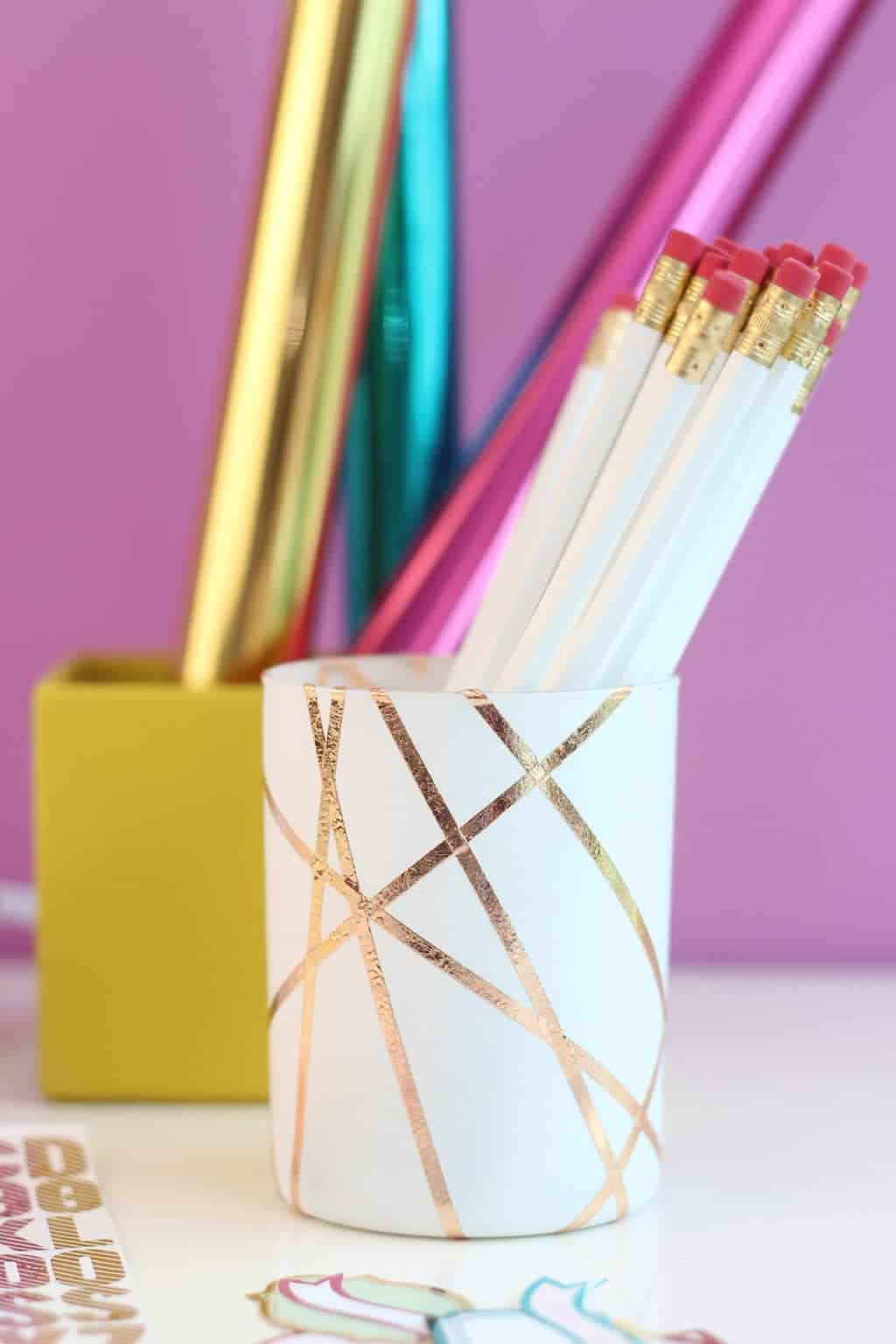 Rose gold foiled pencil holder
