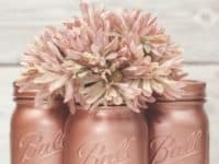 Rose gold painted mason jars 200x150 Pastel and Precious: Fabulous Crafts for Rose Gold Lovers