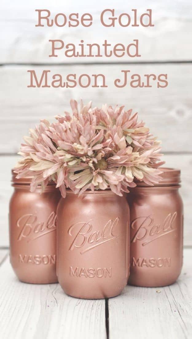 Rose gold painted mason jars