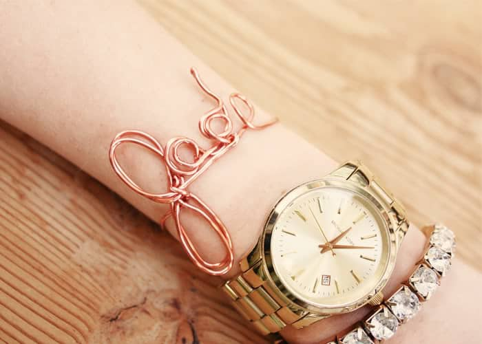 Rose gold wire name bracelet