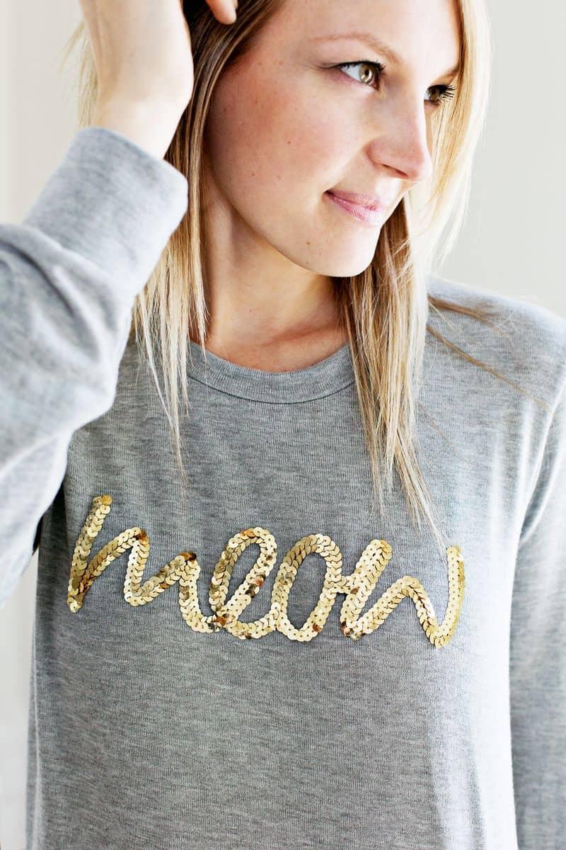Sequin phrase sweatshirt