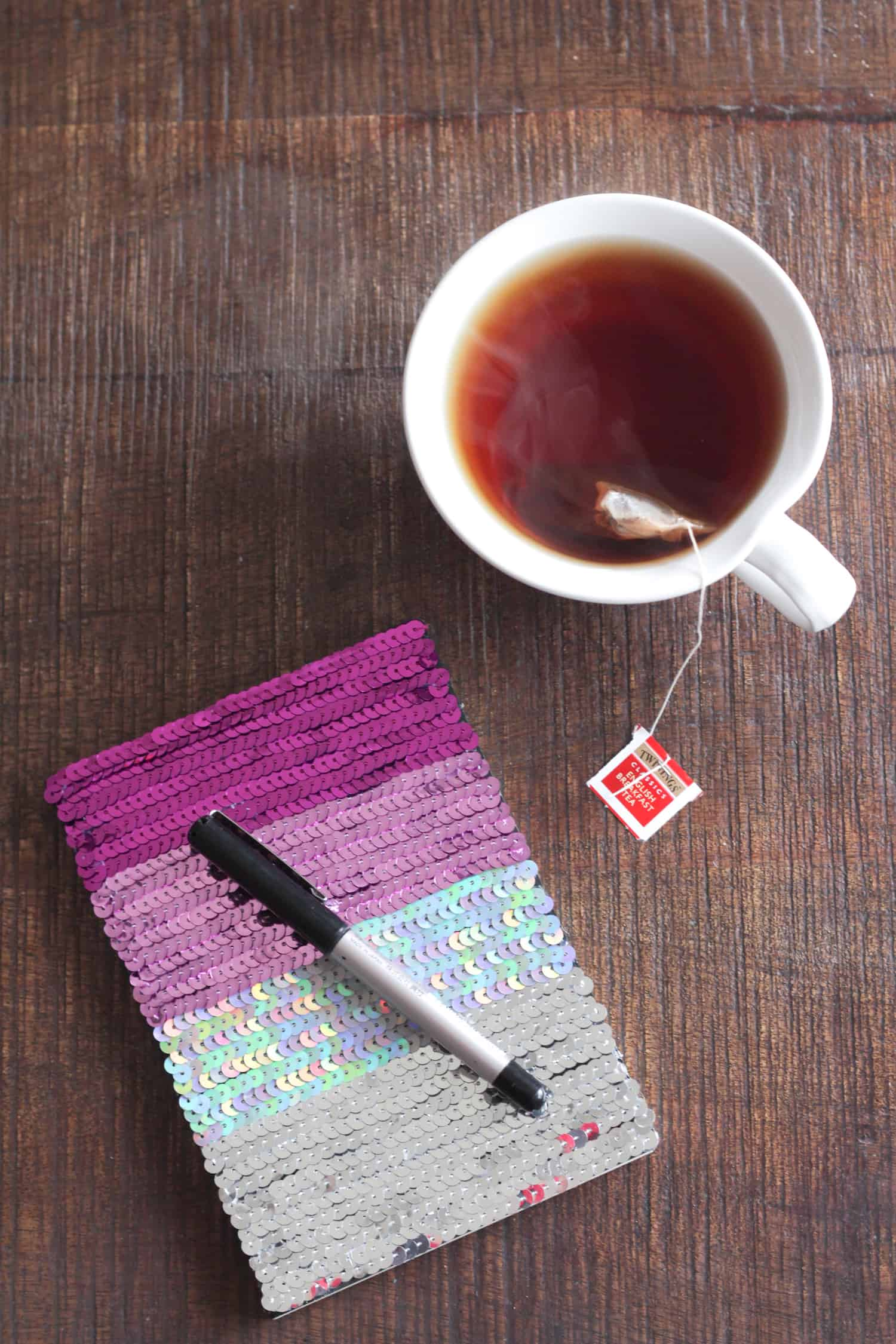 Sequined colour ombre notebook