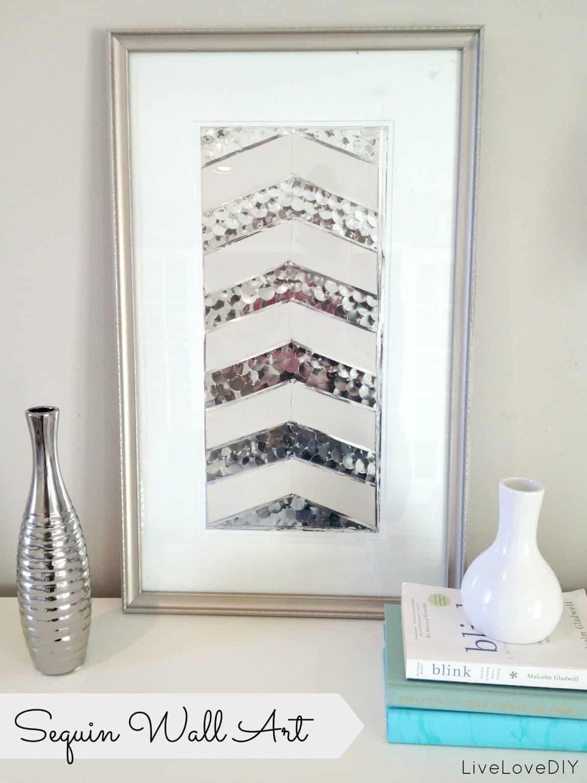 Sequinned chevron wall art