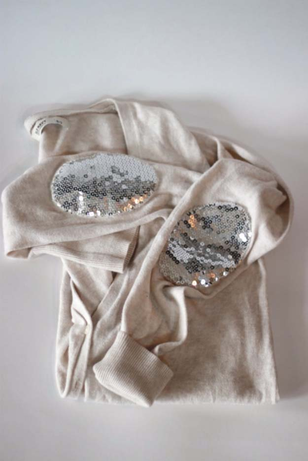 Sequinned elbow patches for sweaters