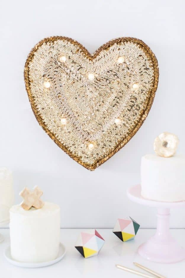 Sequinned heart marquee