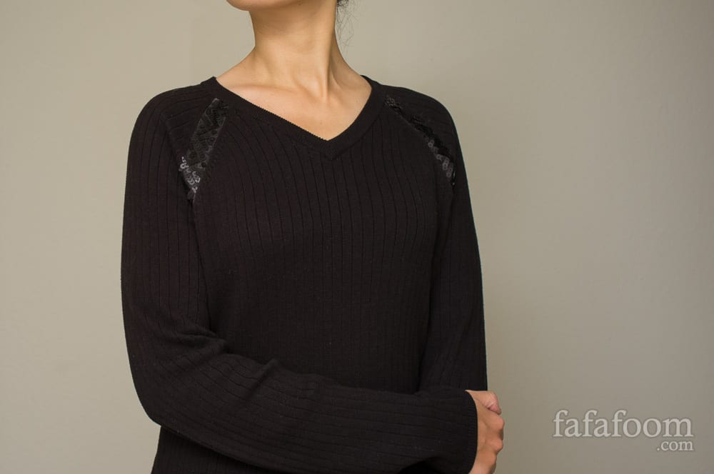 Sequinned raglan trim sweater
