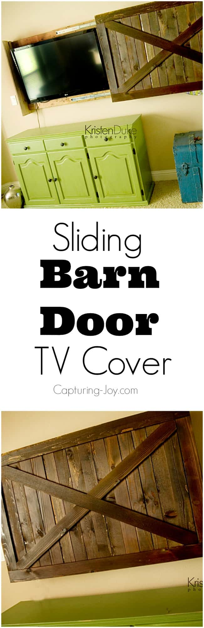 Sliding barn door style TV cover
