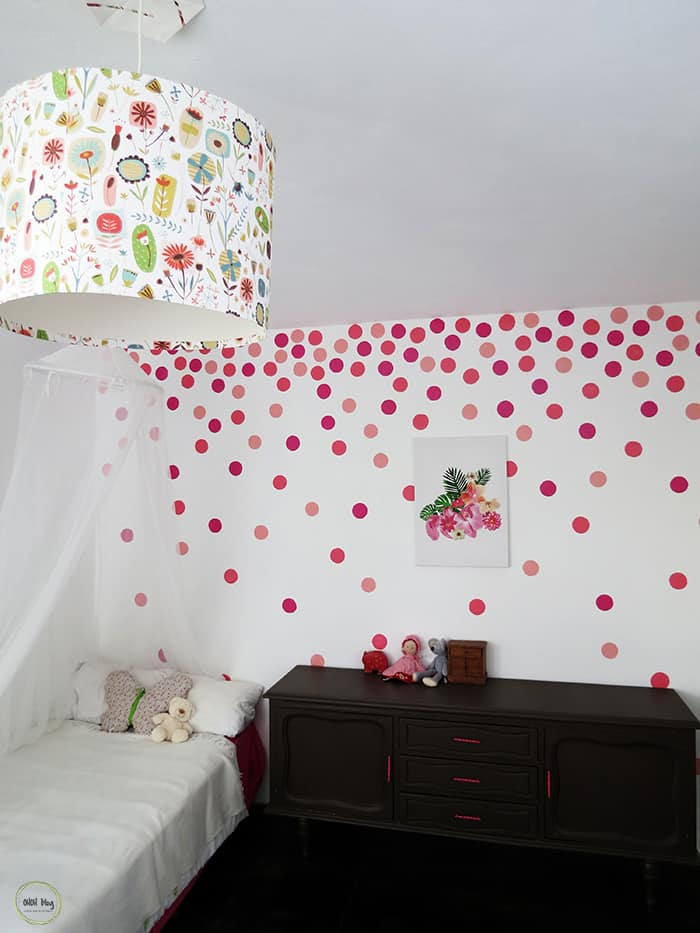 Sponge painted polka dot wall