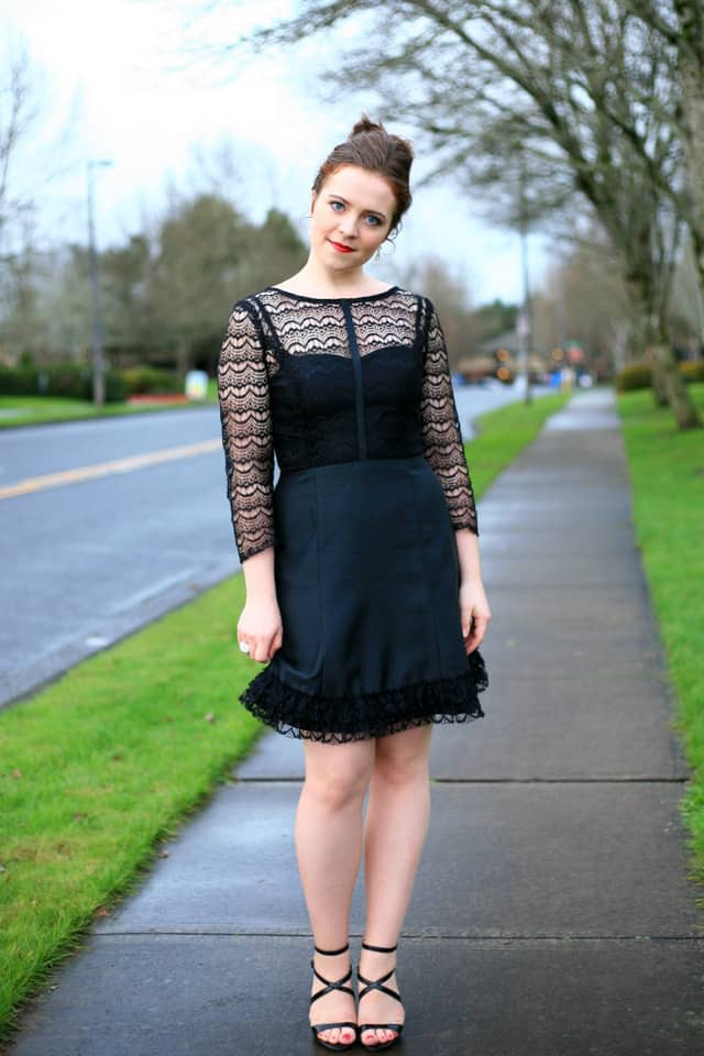 Taylor Swift inspired black lace dress