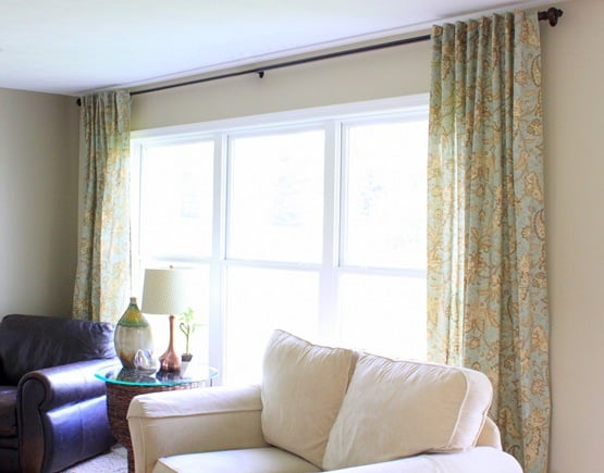 Upcycled table cloth curtains