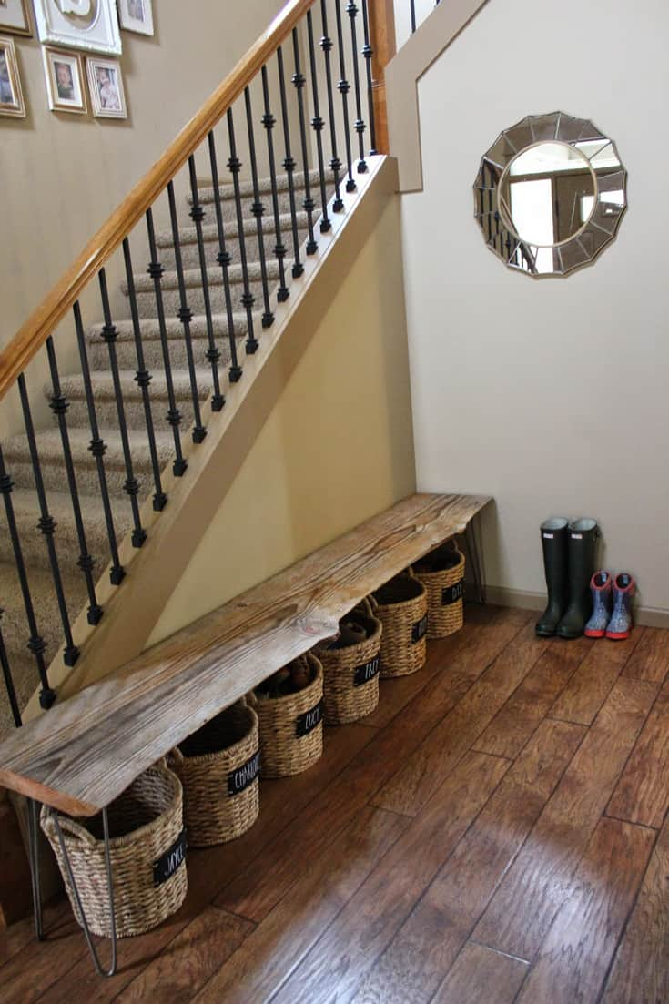 Bench and basket shoe storage