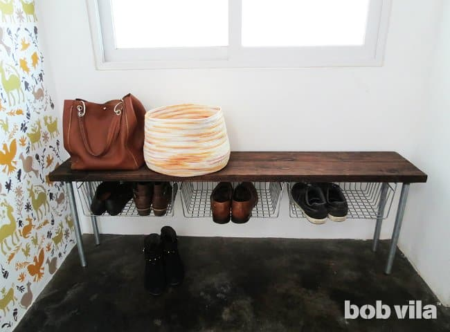 Bench and floating shoe baskets