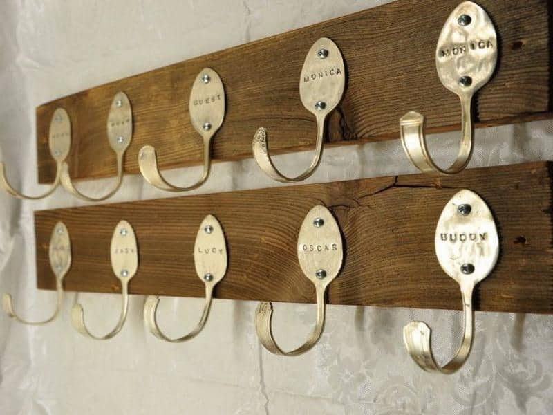 Bent and stamped spoonb coat rack