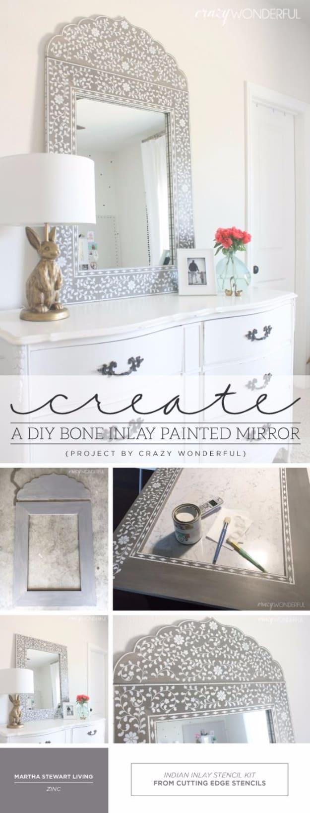 Bone inlay painted mirror