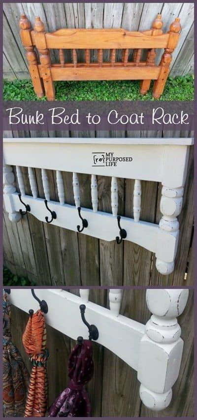 Bunk bed to coat rack