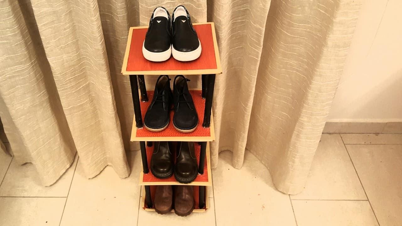 Cardboard shoe rack