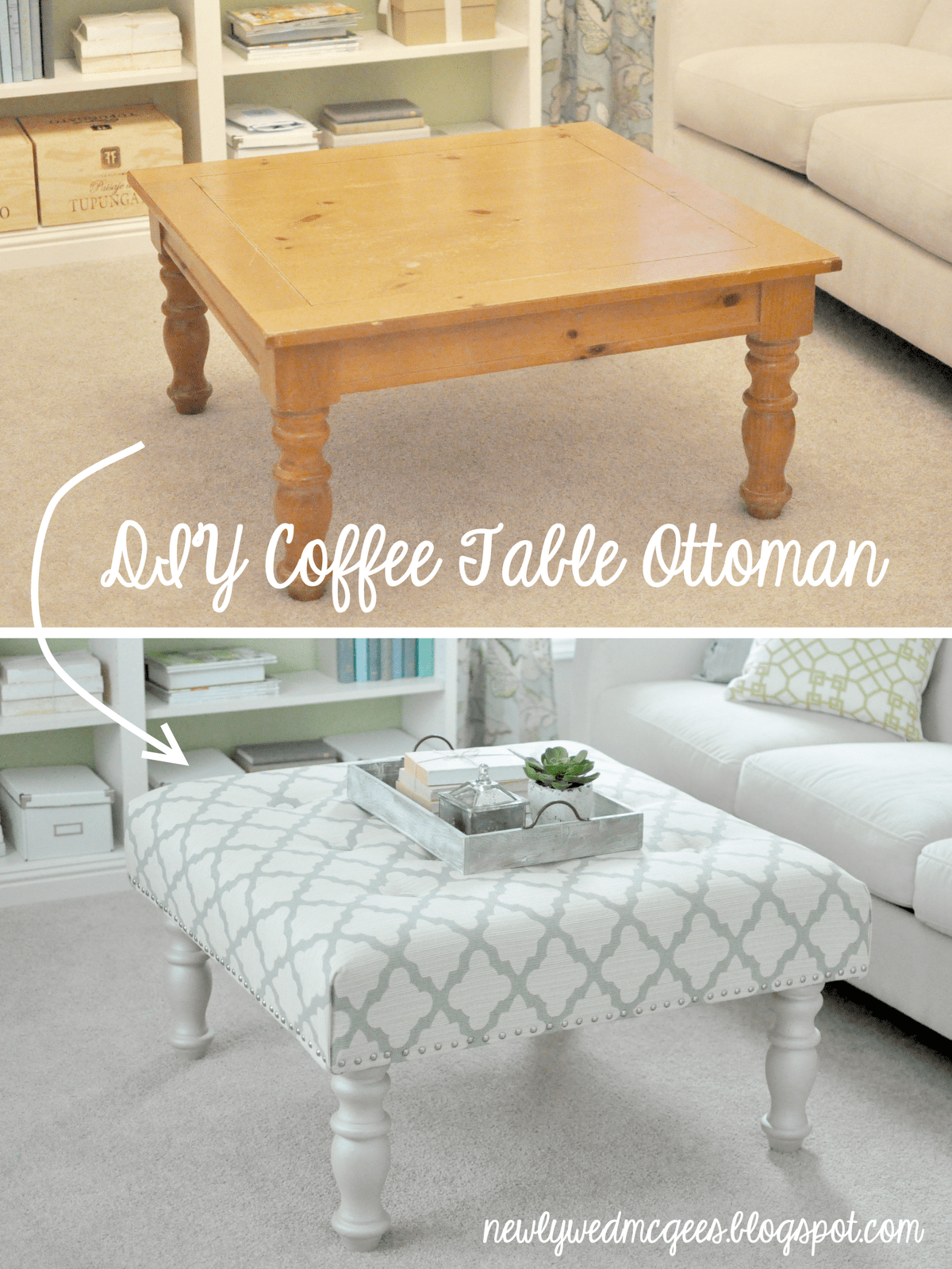 Coffee table to ottoman transformation