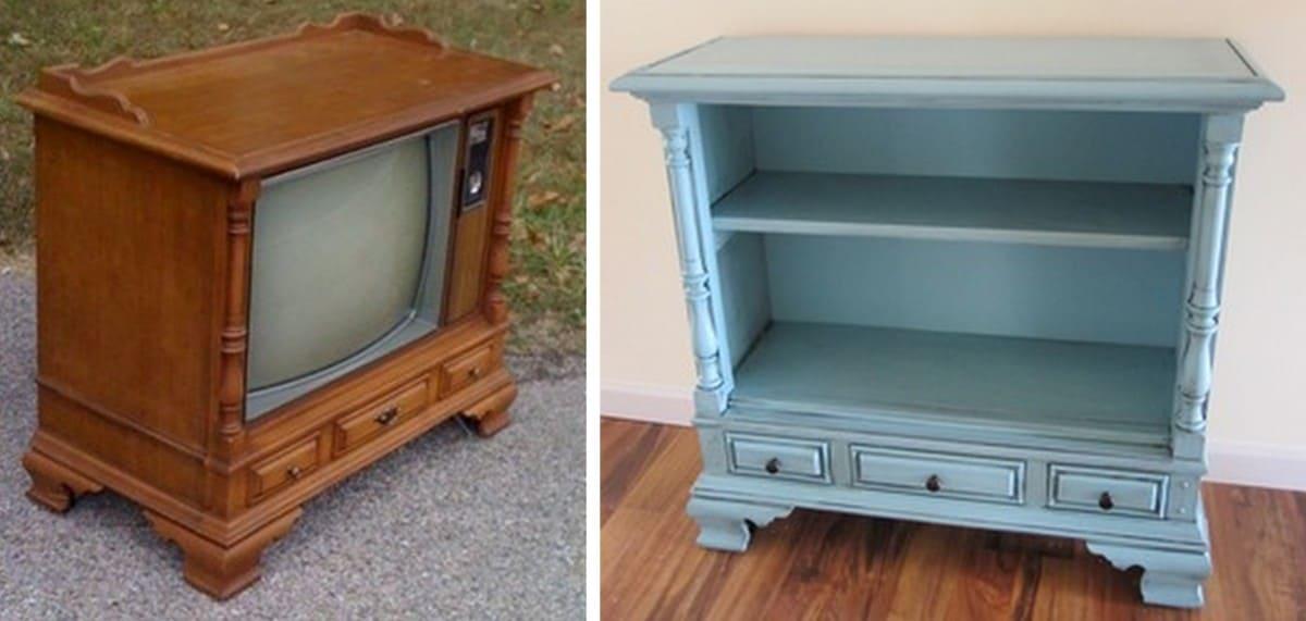 Console TV to bookcase