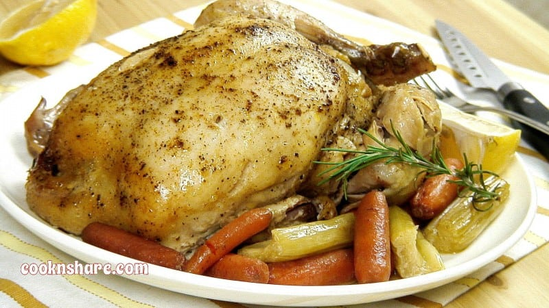 Crockpot whole chicken with slow cooked veggies