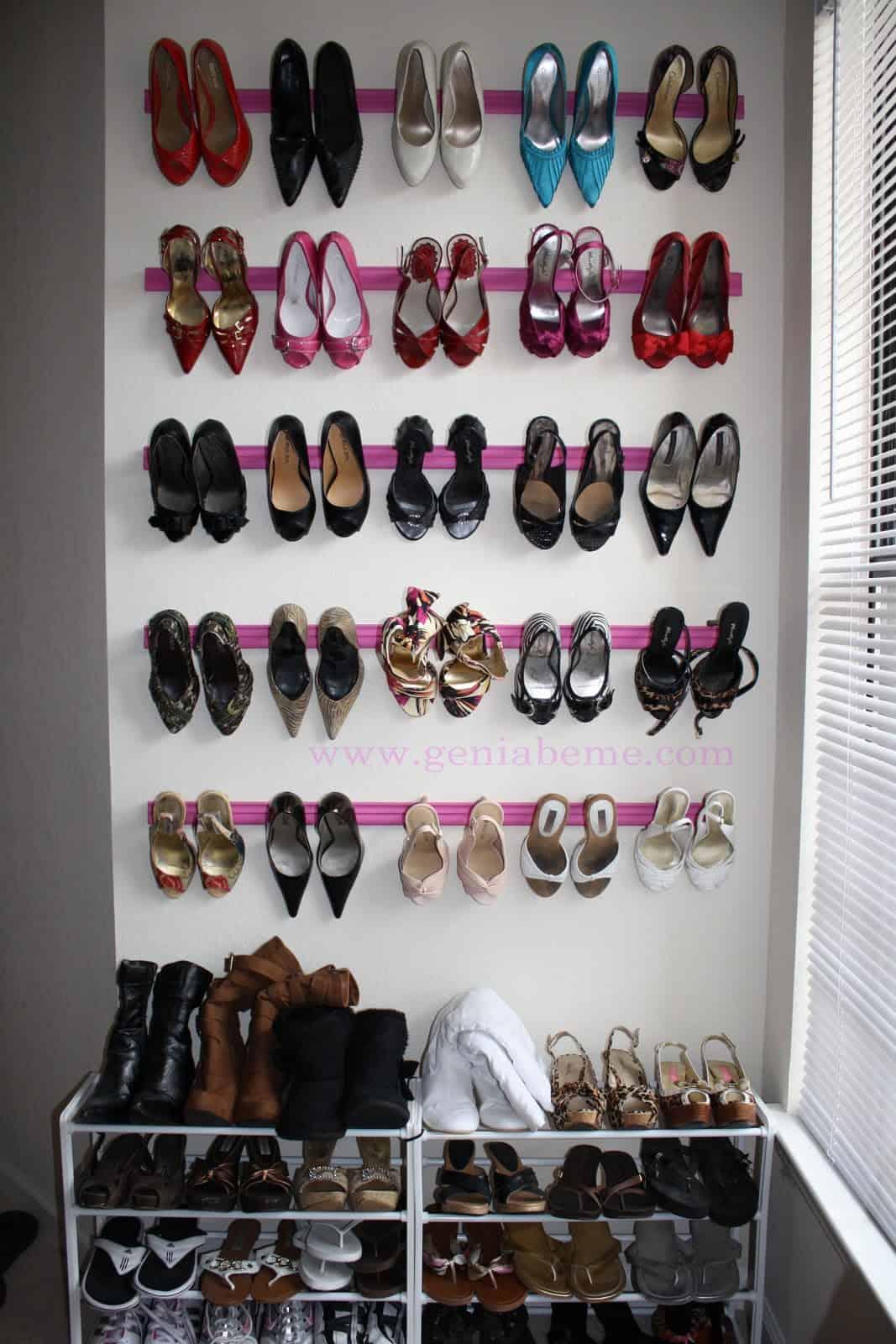 Crown moulding shoe rack