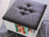 DIY book storage ottoman 200x150 Comfort, Storage and Class: Awesome DIY Ottoman Coffee Tables