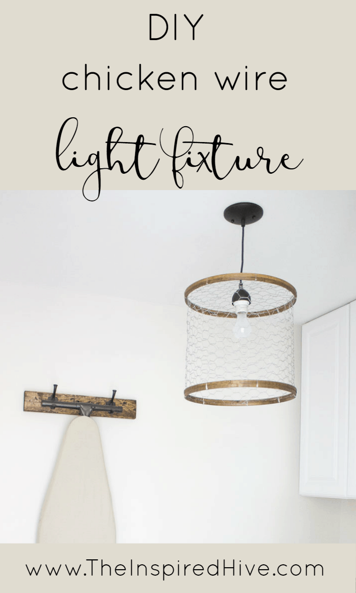 DIY chicken wire light fixture
