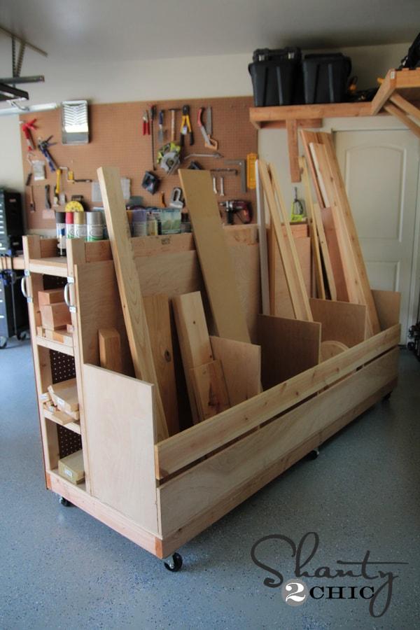 DIY lumber cart with wheels