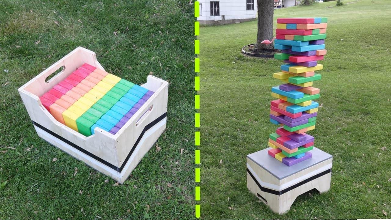 DIY rainbow Jenga