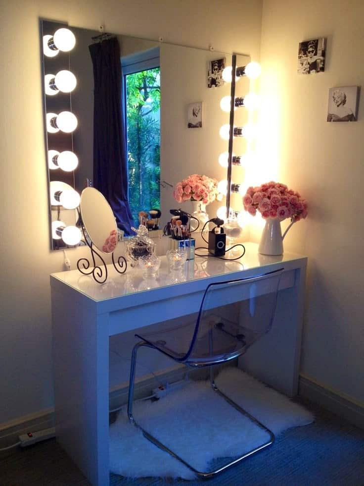 DIY well lit vanity mirror
