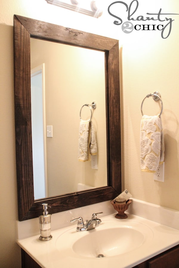 Farmhouse style wood framed mirror