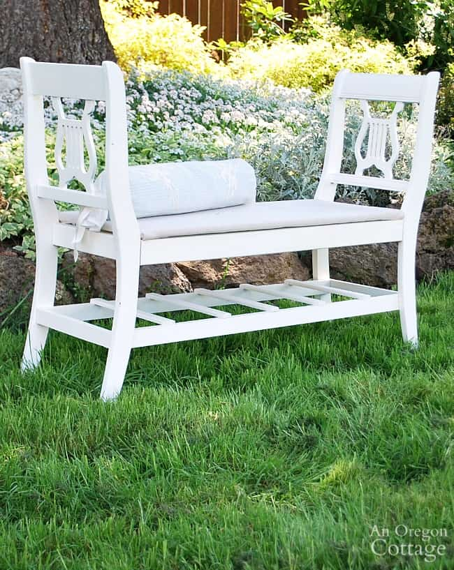 French style bench from old chairs