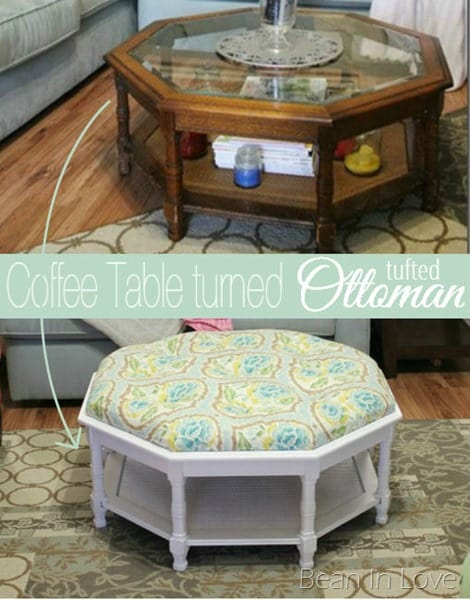 Full glass topped coffee table into a tufted ottoman