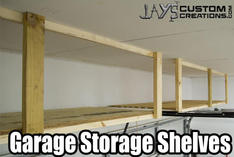 Garage storage shelves above the car